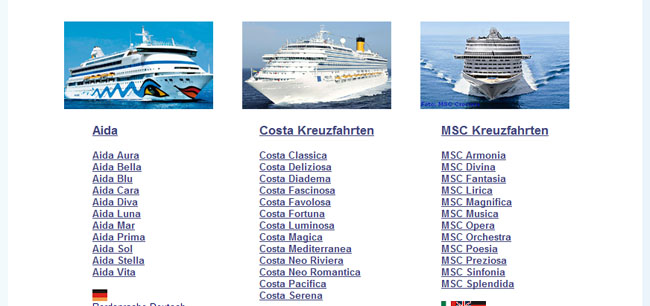 Kreuzfahrten mit Aida, Costa, MSC und Norwegian Kreuzfahrtschiffen