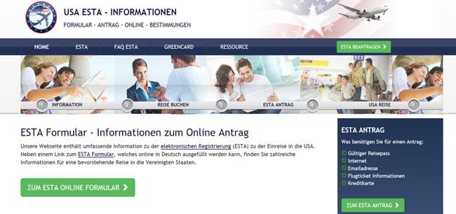 USA ESTA Online Antrag