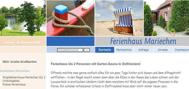 Ferienhaus Mariechen - Urlaub in Ostfriesland